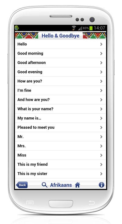 Talking AFRIKAANS Phrasebook App2