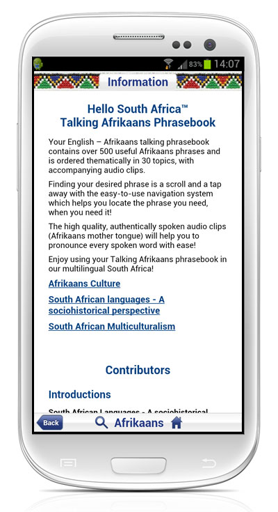 Talking AFRIKAANS Phrasebook App 3